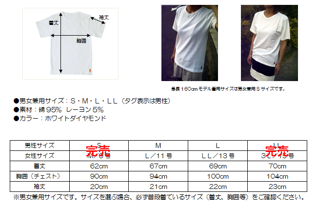 【SF】Vネック半袖Tシャツ サイズ表ML